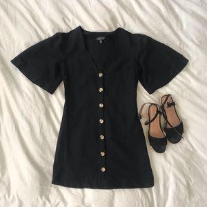 Black Linen Button Dress